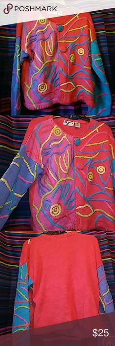 Sweater Multi color sweater with big colorful button & Designs Jackets & Coats