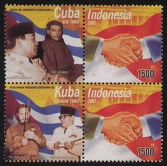 2008 Visit of president Soekarno to Cuba and meetings with Fidel Castro and Che Guevara in 1960. Issued date: 24 May 2008.