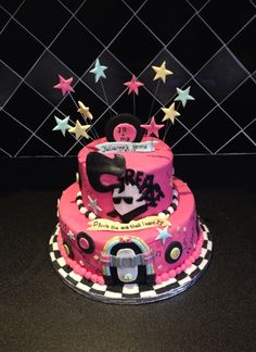Grease Themed Two Tier Cake by Fairytale Fancies