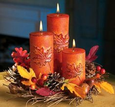 Christmas Candle Decorations, Fall Candles, Christmas Candles, Holiday Decor, Orange Candles, Beeswax Candles, Pillar Candles, Thanksgiving Crafts, Thanksgiving Decorations
