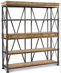 Neo-classical furniture and old fir wood bookcase wooden bookcase shelving LOFE iron wrought iron shelf bookcase