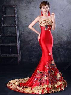 New style Party Qipao dress Cheongsam Strapless Chinese Red Wedding Dresses Chinese Wedding Dress Traditional, Traditional Dresses, Mermaid Evening Gown, Evening Dresses, Beautiful Dresses, Nice Dresses, Formal Dresses, Ball Dresses, Ball Gowns