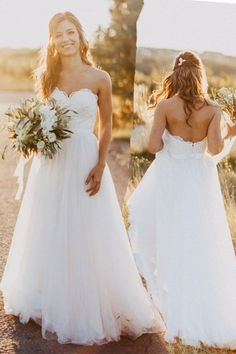 Sweetheart Backless Floor-Length White Wedding Dress with Lace