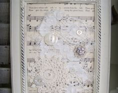 Shabby White Decor Altered Lace Art Vintage Rhinestone by QueenBe