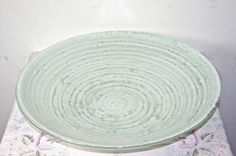 White Spiral Painted and Fused Glass Bowl by LuminousGlassStudio