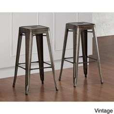 Tabouret Vintage Bar Stools With its sturdy steel construction, these steel stools offer a vintage industrial look. These bar-height stools are fully assembled, stackable and feature non-mar foot glides. 30 Inch Bar Stools, Metal Counter Stools, Industrial Bar Stools, Metal Stool, Vintage Industrial, Industrial Farmhouse, Modern Industrial, Farmhouse Stools, Vintage Bohemian