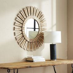 Refresh your bathroom, bedroom, or entryway with our Halo Mirror. Its radiating wooden rays impart a sense of hallowed beauty. Minimalist Mirrors, Pink Velvet Chair, Beaded Mirror, Blue And White Fabric, Living Room Accents, Sunburst Mirror, Wall Paint Colors, Traditional Furniture, Floral Pillows
