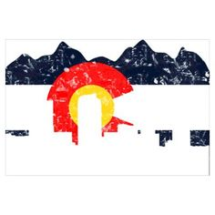 Denver Skyline Colorado Flag--blue for our bountiful blue skies, yellow for our 300+ sunny days, white for the snow capped peaks, and red for the red in our rich soil.