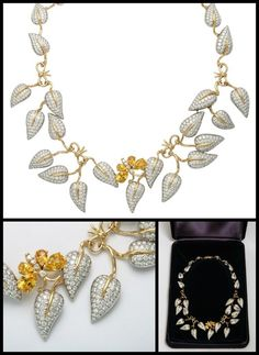 "n Schlumberger for Tiffany & Co. diamond and yellow sapphire vine and butterfly necklace. Platinum Yellow Gold Diamond Yellow Sapphires Floral Necklace. Signed ""TIFFANY & Co Schlumberger PT 950"" and ""750"". Box included. Via 1stdibs."