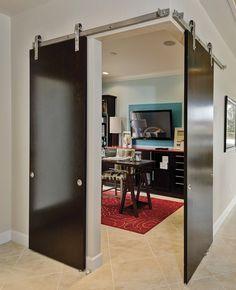 FLS-Birch Dark Stain Contemporary Barn Door Track System Dining Room IB