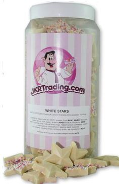White Stars Sweet Jar A Gift Jar Full Of White Chocolate Flavoured Stars Mini Bananas, Foam Shapes, Jar Gifts, Chocolate Flavors, White Chocolate, Presents, Sweets, Colours