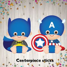 Baby Superhero cut-out party decoration Baby Superhero, Superhero Birthday Party, Birthday Parties, Superhero Centerpiece, Captain America Party, Marvel Cartoons, Baby Kit, Kid Character, Fun Ideas