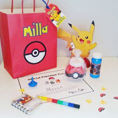 Easy to put together Pokémon inspired goody bags- photo and blog at eversosweetparty.wordpress.com