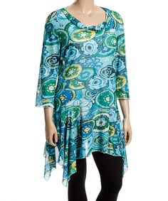 Turquoise Abstract Sidetail Tunic - Plus