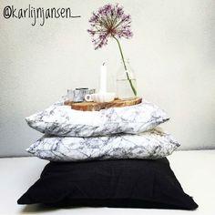 Best-budget-buy; de kussens met marmerprint (Fjellfiol 45x45) zijn verkrijgbaar bij Jysk en te koop voor 999 per stuk of per twee voor 1499. Bedankt voor de tip en mooie foto @karlijnjansen_!