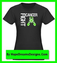 Fight Cancer slogan on Lymphoma shirts, featuring distressed text lime green ribbon boxing gloves by hopedreamsdesigns.com