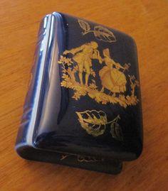 Vintage Limoges France Cobalt Blue and Gold Tone Trinket Box Rare Shape. (06/26/2015)