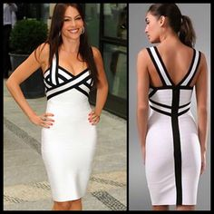 White Bandage Dress with black accents   Item No. : DP23980  Price : $192.99  Sizes XS, S, M & L available.   90% Rayon, 9% Nylon & 1% Spandex.  To order today, please email us at dieprettyclothing@gmail.com  We look forward to hearing from you!  ~ Die Pretty Clothing Co. www.dieprettyclothingco.com