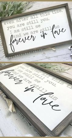 Forever in Love Framed Wood Sign, Even After All This Time, Love Sign, Master Bedroom Sign, Farmhouse Sign, Valentine's Day gift idea, Farmhouse decor, Rustic decor, Rustic sign #ad