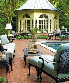 The gazebo would make a great entertainment/relaxation space in the garden or other places on the property. (Provance Furniture Collection by Summer Classics); stated, a, former, pinner. Outdoor Cushions, Outdoor Seating, Outdoor Rooms, Outdoor Living, Outdoor Decor, Outdoor Ideas, Backyard Ideas, Outdoor Patios, Backyard Pools
