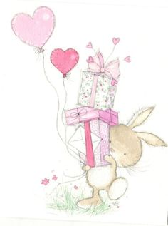 Annabel Spenceley - bunny Source by carollust Birthday Greetings, Birthday Wishes, Birthday Cards, Cute Drawings, Animal Drawings, Cute Images, Cute Pictures, Bunny Art, Cute Illustration