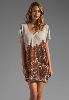 dd5c6d1e6f Plenty by Tracy Reese Printed Linen Jersey Dolman Chemise in Adobe Sunset  Tracy Reese