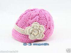Handmade Knitting Crochet Flower Button Hat Newsboy Toddler Gril Baby 0 3 Mon | eBay