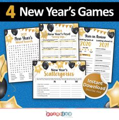 New years eve games bundle, New years games for new years party, Printable games, Holiday party Holiday Party Games, Cheer Party, Halloween Party Games, Holiday Parties, Holiday Decor, New Years Eve Games, New Years Activities, Christmas Family Feud, Christmas Games