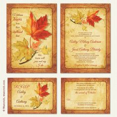 Fall Autumn Maples Leaves Wedding Invitation and RSVP Reply Cards by wasootch. Printed invitation and reply card set. Comes with cream colored envelopes. Prices starting at $115.00 includes shipping and free personalization service.   #wedding #weddinginvitations #fallwedding #autumnwedding