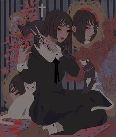 cut it off, an art print by vacuum Art Manga, Anime Art, Pretty Art, Cute Art, Aesthetic Art, Aesthetic Anime, Illustrations, Illustration Art, Arte Grunge
