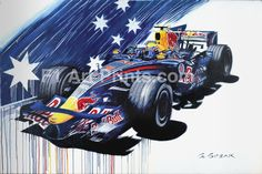 Webber Red Bull Racing at f1artprints.com  This artwork is a unique double-tribute to Mark Webber, celebrating his 7 years of success at Red Bull and in particular his two memorable wins at Monaco. The deep blues of the Australian Flag combine with the reds and yellows of the Red Bull team colours, with the artist running them down the canvas in dramatic drip lines. And for true F1 afficianado's, yes this is indeed Webber flying through the swimming pool complex at Monaco. Well spotted!