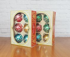 Set of 12 Vintage Shiny Brite Ornaments Multi Color Silver Glitter Stencil / Original Boxes by FireflyVintageHome on Etsy