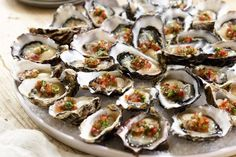 Oysters on the half shell with habanero-tomato mignonette