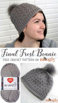 Final Frost Beanie - free crochet pattern on Moogly #crochet #redheartyarns #chicsheepbymarlybird #redheartyarn #freecrochetpatterns