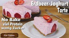 Erdbeer-Joghurt Torte ohne backen - Rezept von Lila Kuchen Cheesecake, Pudding, Protein, Food, Youtube, Low Sugar Cakes, Strawberries, Purple Cakes, Cheesecakes