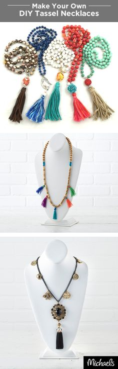 These on-trend tassel necklaces are the perfect accessory and simple to make! Colorful beads and pendants make these necklaces extra fashionable. Get all of the supplies you need to craft your own tassel necklace in the jewelry section of your local Michaels store.
