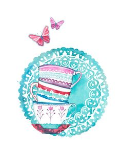 Watercolor Teacups illustration Print by BellaAndBunny on ETSY