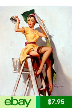 Vintage c.1955 Retro Pin-Ups on Canvas Winning Aces