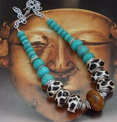 African Inspired Giraffe Print Necklace #467 | GracefulDesigns - Jewelry on ArtFire