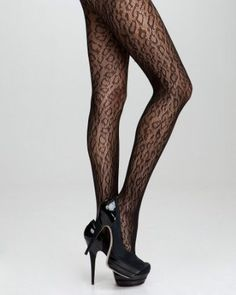 Cheetah Fishnet Tights - Color: Black - Size: Petite/Small - Store: Bebe