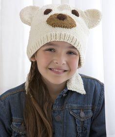 Polar Bear Hat Free pattern ♥   up to 6000 FREE patterns to knit ♥: http://www.pinterest.com/DUTCHKNITTY/share-the-best-free-patterns-to-knit/