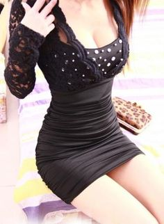 Vinosc Lace stitching tight package hip was thin long-sleeve,  Dress, sexy party women fashion dress, Chic