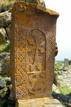 A khachkar, also known as Armenian cross-stones is a carved, memorial stele bearing a cross, and often with additional motifs such as rosettes, interlaces, and botanical motifs. Khachkars are characteristic of Medieval Christian Armenian art