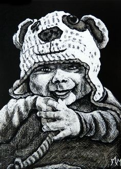""""""" Luca """" 2014 Commissioned Scratchboard ACEO Art Card by Monique Morin Matson / Safyre Studios"""