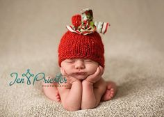 Christmas Baby Hat, Knit Newborn Hat, Baby Photo Prop in Bright Red and Green. $30.00, via Etsy.