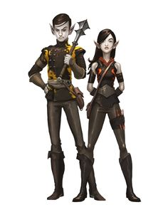 Tanthal and Desstra, two dark elf members of the Underhand, from the novel Nightborn. Art by Andrew Bosley.