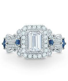 Vera Wang LOVE Collection | 1-1/8 CT. T.W. Emerald-Cut Diamond & Blue Sapphire Ring