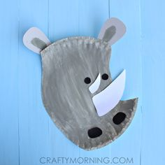paper plate rhino craft