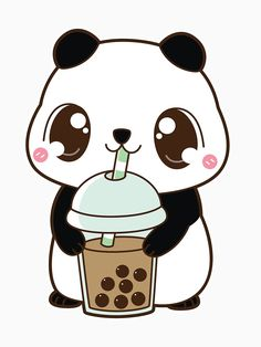Boba Panda - Classic Milk Tea A cute and minimalistic design of a panda drinking bubble tea! Great T-shirt for all the panda and milk tea lovers out there! Cute Panda Drawing, Cute Animal Drawings Kawaii, Cute Cartoon Drawings, Cute Kawaii Animals, Cute Easy Drawings, Cute Drawings Of Animals, Cute Cartoon Animals, Cute Animals To Draw, Baby Animal Drawings