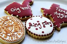 Cute Aggie cookies!! @Elizabeth Lockhart Farrell... LOOK!!!  YOUR COOKIES ARE PINNING!!!!!!  OMG!!!!!!!!!!!!!!!!